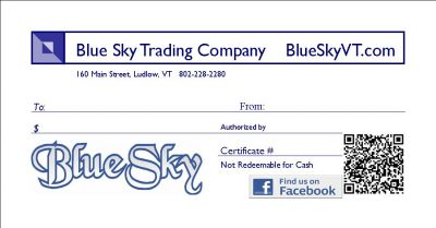 Blue Sky Gift Certificates